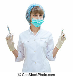 woman dentist with tools in hand on white background isolated