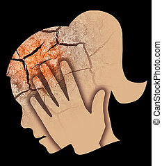 Woman Depression Headache.