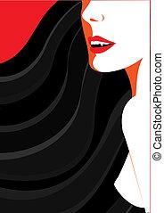 Woman devil on white.Black silhouette image for Halloween