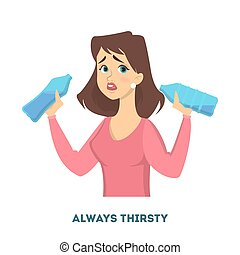 Woman diabetes symptoms. Always thirsty and wants water.