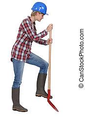 Woman digging