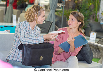 woman discussing with shop assistant in furniture store