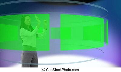 Woman displacing videos