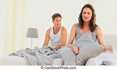Woman disputing with her husband - Woman disputing her...