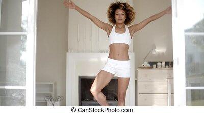 Woman Do Yoga Exercises