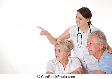 doctor and an elderly couple