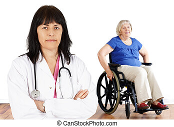 Woman doctor and handicap senior