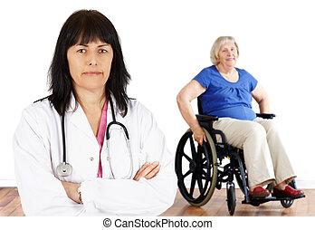Woman doctor and handicap senior