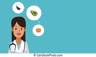 Woman doctor and healthy food HD animation - Woman doctor...