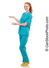 woman-doctor, en, uniforme, manos de valor en cartera, aislado, blanco