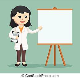woman doctor giving presentation