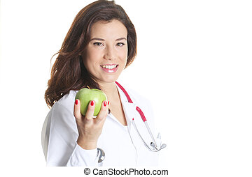 woman doctor holding a green apple
