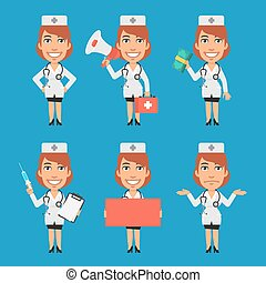 Woman Doctor Holds Syringe Megaphone Money Paper