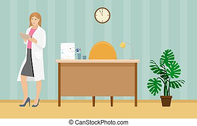 Woman doctor in a white coat with a folder in his hand in the doctor's office. Medical vector illustration. Desk.