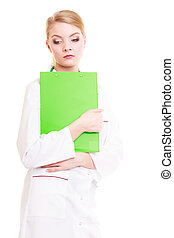 Woman doctor in lab coat with stethoscope. Medical