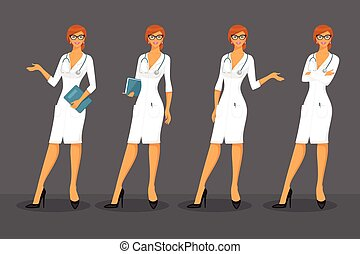 Woman doctor in various poses