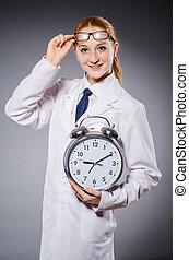 Woman doctor missing her deadlines