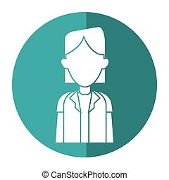woman doctor occupational medical work with shadow vector...