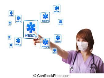 Woman doctor pressing digital button