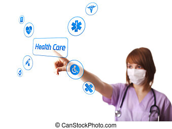 Woman doctor pressing digital button, selective focus,...