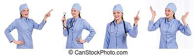 Woman doctor pressing virtual button