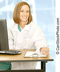 Woman Doctor Sit And Smiling