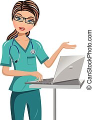 Woman Doctor Speaking and Making Presentation with Laptop isolated