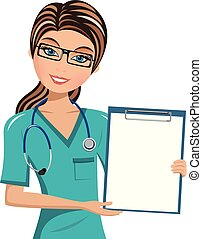 Woman Doctor Surgeon Holding Blank Folder Isolated