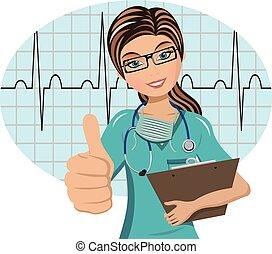 Woman doctor thumb up ecg exam background isolated
