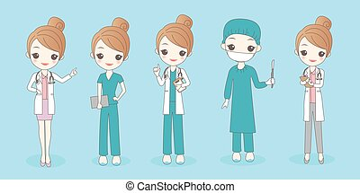 woman doctor wear different clothes