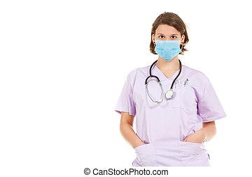 Woman doctor wearing mask