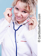 Woman doctor with stethoscope.