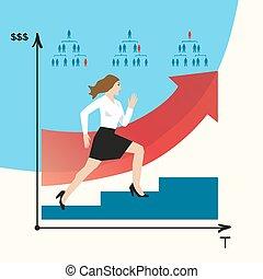 Woman does career. Girl goes on a career ladder. Career...