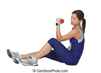 Woman doing a barbell exercise - Young active woman doing a...
