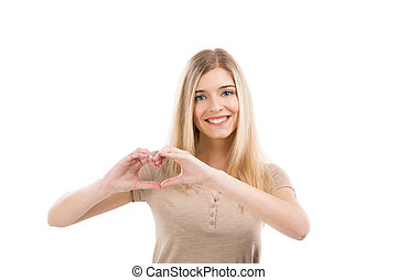 Woman doing a heart with her hands