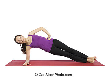 Woman doing a variation of side plank pose - Woman is doing ...