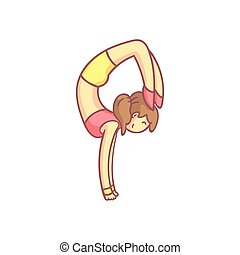 Woman Doing Advanced Hand Stand Yoga Pose Flat Outlined Pale...