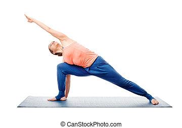 woman doing ashtanga vinyasa yoga asana utthita