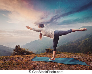 evening yoga  3 person  canstock