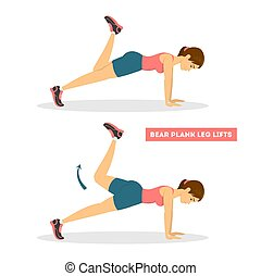 Woman doing bear plank exercise. Full body workout