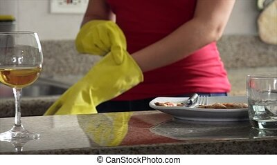 Woman Doing Chores At Home
