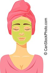 Woman doing cosmetic mask. Vector flat cartoon illustration
