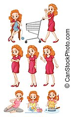 Woman doing different activities illustration