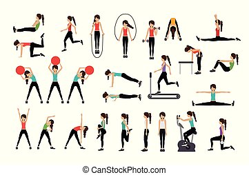 Woman doing excercise vector illustration - Set of Woman ...