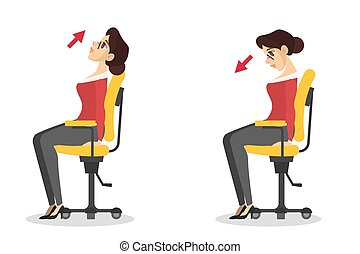 Woman doing exercise for neck stretch sitting on the chair in office. Workout during the break. Stretching shoulder. Body relaxation. Vector illustration in cartoon style