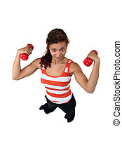 woman doing exercises with a dumbbell