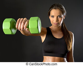 Woman doing front shoulder fly