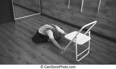 Woman doing gymnastics. Black and White shooting