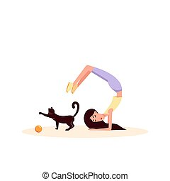 Woman doing gymnastics. Near to her a cat play ball. Color vector flat cartoon illustration isolated on white.