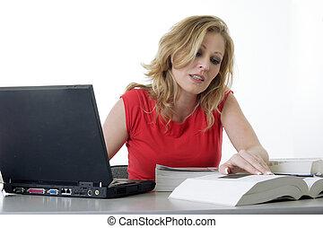 Woman doing homework